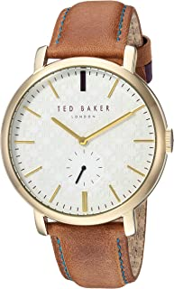 Ted Baker Men's 'TRENT' Quartz Stainless Steel and Leather Casual Watch, Color:Brown (Model: TE15193006)