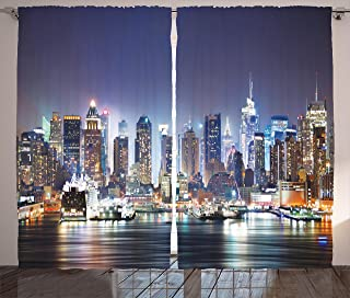 Ambesonne New York Curtains, Manhattan Skyline at Night Skyscrapers Panoramic on Tranquil River Picture, Living Room Bedroom Window Drapes 2 Panel Set, 108
