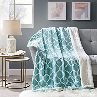 Comfort Spaces Sherpa Blanket Ultra Soft and Cozy Throws 50 x 60 for Couch, Bed, 50x60, Aqua Ogee