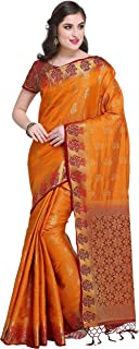 Rajnandini Women's Silk Zari Weaving Work Kanjivaram Rich Pallu Saree With Blouse (JOPLNS2003_Free Size)
