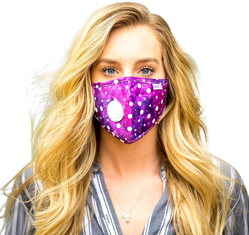 AerHeart Cute Reusable Pollution Face Mask With 6 N99 Carbon Filters Watercolor Polka Dots Purple