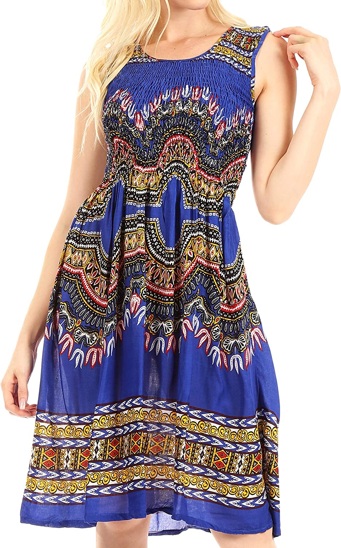 Sakkas Darcia Women's Casual Summer Cocktail Elastic Stretchy Dashiki Print Dress