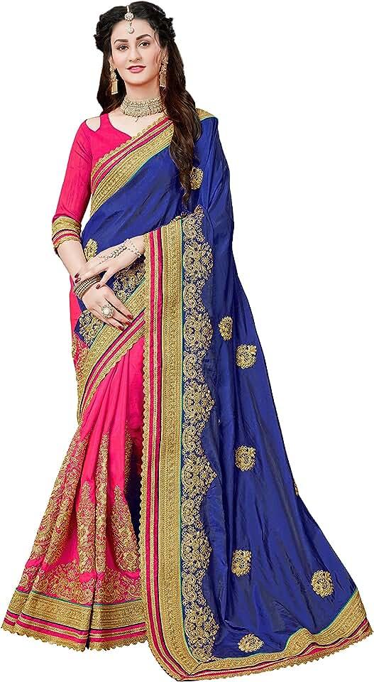 Indian MANOHARI Women's Art Silk Saree With Blouse Piece (MN359_Blue) Saree