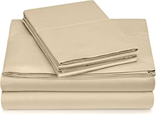 Pinzon 400 Thread Count Egyptian Cotton Sateen Hemstitch Sheet Set - Queen, Taupe