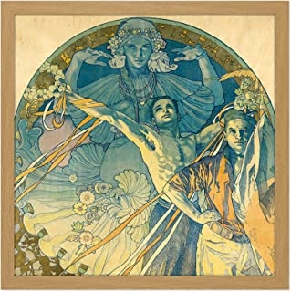 Mucha Advert 8th Sokol Festival Prague 1927 Square Wooden Framed Wall Art Print Picture 16X16 Inch 広告 祭り 木材 壁 画像