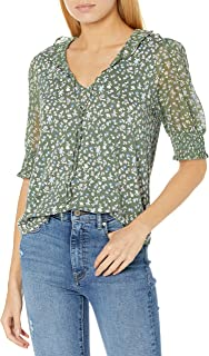Lucky Brand Women's 3/4 Sleeve Mixed Media V-Neck Flutter Top