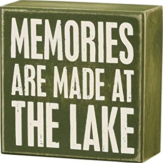 Primitives by Kathy 21111 Olive Green Box Sign, Memories are Made at The Lake