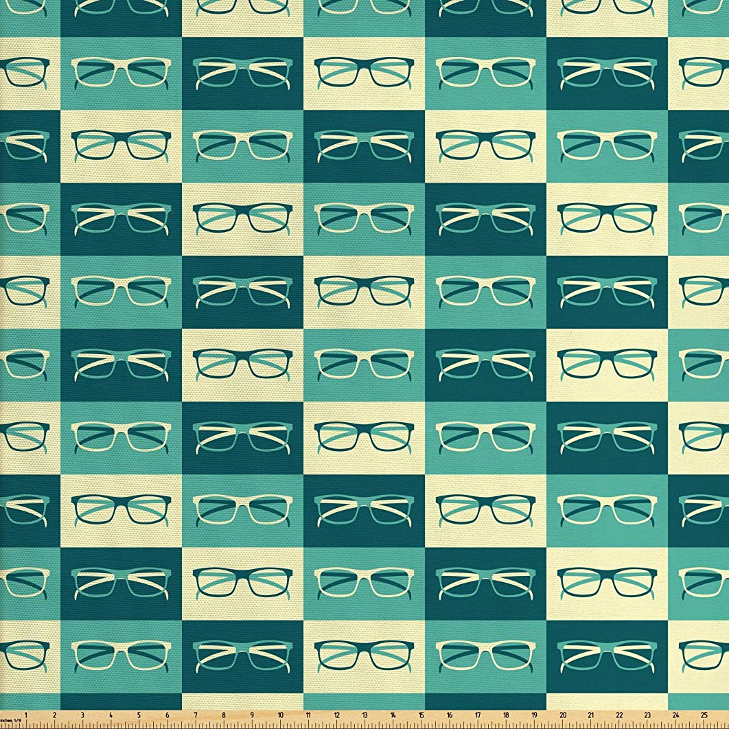Ambesonne Indie Fabric by The Yard, Pattern with Eyeglasses in Vintage Style Hipster Cool Design Modern, Decorative Fabric for Upholstery and Home Accents, 2 Yards, Petrol Blue Turquoise Cream