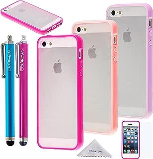 iPhone SE/5s/5 クリアケース Wisdompro バンパー 耐衝撃 薄型・軽量・透明タイプ アイフォン SE/5s/5 TPU+PC カバー 【3枚組 3色セット】(パープル+オレンジ+ローズ)