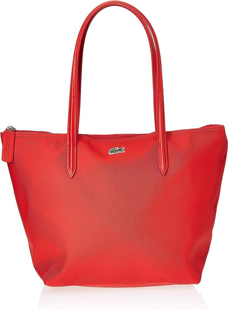 Lacoste,borsa a mano/spalla per donna in pique` plastificato. rossa NF2037PO