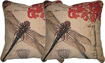 """DaDa Bedding Accent Cushion Covers - Set of 2 Dragonfly Dream - Elegant Colorful Travel Decor - 2-Pieces - 18"""" x 18"""""""
