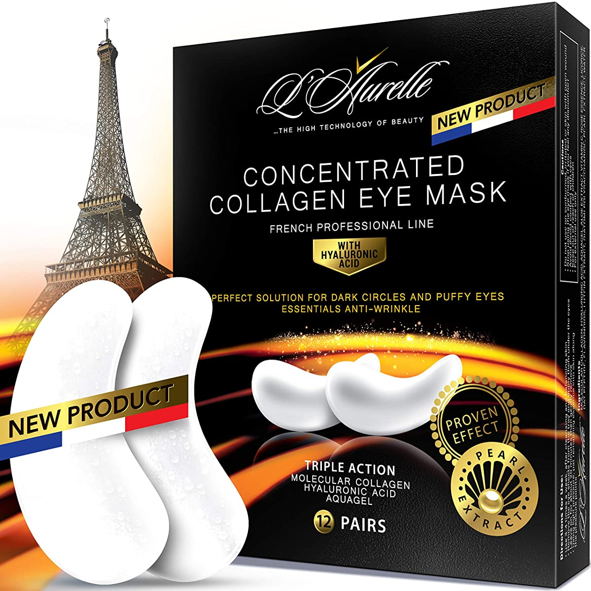 Under Eye Mask Collagen Eye Mask Pearl Extract Under Eye Pads Anti-Aging Hyaluronic Acid Eye Patches Gel Eye Patch for Moisturizing & Reducing Dark Circles Puffiness Wrinkles Crow's Feet