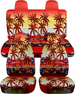 Totally Covers compatible with 2007-2017 Jeep Compass/Patriot Hawaiian Seat Covers: Red w Palm Tree - Full Set (4 Prints) ...