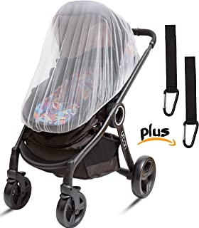 Ritmart Baby Mosquito Net for Stroller, Car Seat & Crib + Hooks (3-Piece Set) - Infant Bug Netting for Carrier, Bassinet & Pack N Play. 50 x 46 Inch, White, Large and Elastic