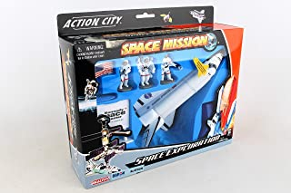 Daron Worldwide Trading Inc. Space Shuttle with Stand 3 Astronauts, American Flag and Kennedy Space Center Sign