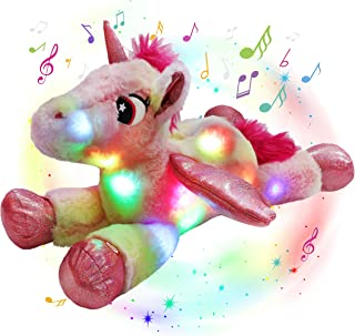 Glow Guards LED Musical Stuffed Unicorn Light up Plush Toy with Night Lights Singing Glow Bedtime Pal Birthday for Toddler...