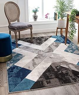 Well Woven Rheta Blue Modern Geometric Stripes & Angles Pattern Area Rug 5x7 (5'3