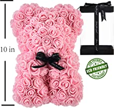 Rose Bear Hand Made Teddy Bear Rose Bear Rose Teddy Bear - Gift for Mothers Day, Valentines Day, Anniversary & Bridal Showers Weddings Clear Gift Box 10 inch (Light Pink)