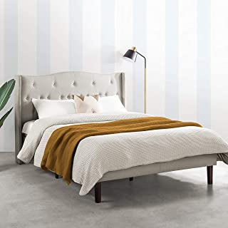 MELLOW Amabel Upholstered Platform Bed Modern Tufted Wingback Headboard Real Wooden Slats and Legs, Full, Light Grey