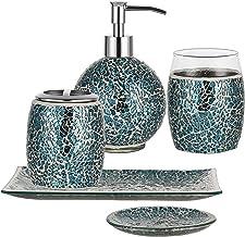 WHOLE HOUSEWARES 5-Pieces Bathroom Accessory Sets Bright Blue Crackle Mosaic Glass Ensemble-Lotion Dispenser/Toothbrush Ho...