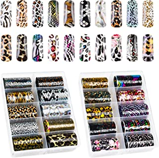 Beautifultracy 20 Rolls Nail Foil Transfer Sticker Leopard Starry Sky Nail Decals Manicure Tips Wraps Nail Art Decorations Foil Nail Art Adhesive Glitters Acrylic DIY Decoration