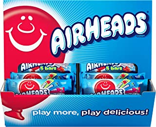 Airheads Variety 5 Full Size Bars Pack with Counter Display, Assorted Flavors, Halloween Candy, Bulk, 36 Pack (180 Bars Total)