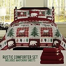 HowPlum Bear Lodge Elk Rustic Queen Comforter 8 Piece Bedding and Deer Sheet Set Cabin Hunting Bed in a Bag