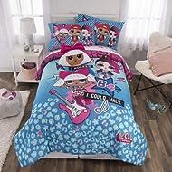 L.O.L. Surprise! Soft Microfiber Comforter, Sheets and Plush Cuddle Pillow Kids Bedding Set, Full...