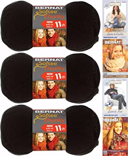 Bernat Softee Chunky Yarn Bundle Super Bulky Number 6, 3 Skeins, Black