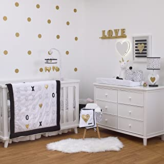 black white and gold baby bedding
