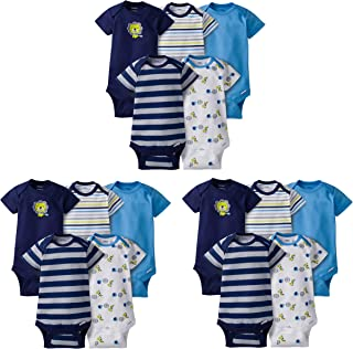GERBER Baby Boys' 15-Piece Variety Grow-with-me Onesies Bodysuits