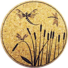 XL Coasters Dragonfly & Cattail (6 Inch, Set of 2) – Oversized cork absorbent drink coasters