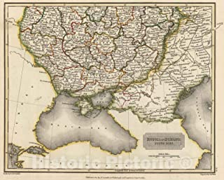 Historic Map - 1817 Russia in Europe. South Part - Vintage Wall Art - 24in x 18in