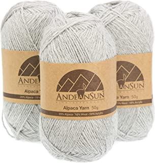 Fingering Alpaca Yarn Blend (Weight #2) FINE, Sport, Baby Skeins - Set of 3 SKEINS - 654 Yards Total - 150 Grams - 5.28 Ounces Total