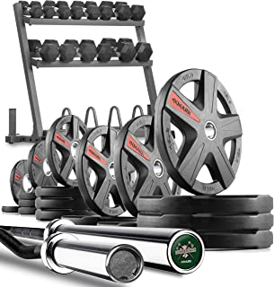 XMark Powerhouse 2 Dumbbell Rack and Plate Weight Rack Loaded with 350 lbs. of Hex Dumbbells, 365 lbs. of Texas Star Olympic Plate Weights, Lumberjack Olympic Bar and Curl Bar