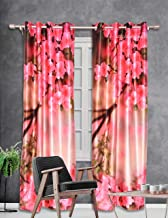 b7 CREATIONS Polyester Whiteout Floral Digital Printed Curtain for Door (4 x 7 ft)