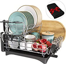 Dish Drying Rack, Qienrrae 2 Tier Large Dish Rack and Drainboard Set for Kitchen Counter, Stainless Steel Dish Drainer wit...