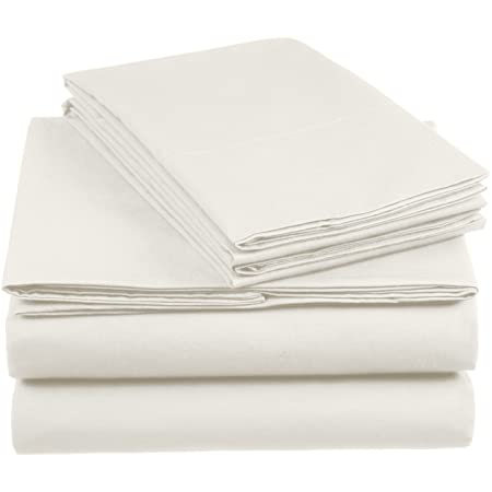 Amazon Basics AB 200TC Cotton-Light, 100%, Ivoire, 140 x 200 cm & 2 Taies 65 x 65 cm