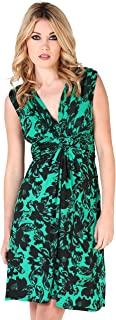 Womens Casual Sleeveless Knot Low Cut V Neck Floral Printed Tank Dress