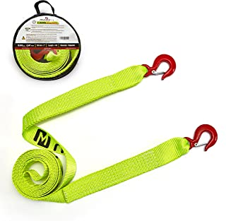 "Mozzbi Tow Strap Alloy Latch Hooks - 10K LBS, Breaking Capacity 4.5T, 2"" Heavy Duty Vehicle Towing for Car Emergency Rope Highly Strong and Durable Off Road Tree Saver, 4 Meter Long"