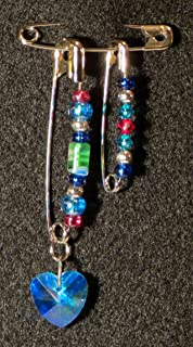 Solidarity Safety Pin 02: Handmade Art Safety Pin Jewelry - Lampwork Glass Bead Crystal