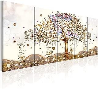 murando - Cuadro en Lienzo Arbol Klimt 225x90 cm Impresión de 5 Piezas Material Tejido no Tejido Impresión Artística Imagen Gráfica Decoracion de Pared Abstracto l-A-0009-b-n