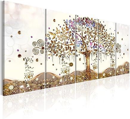 murando - Cuadro Arbol Klimt 225x90 cm - impresión de 5 Piezas - Material Tejido no Tejido - impresión artística - Imagen gráfica - Decoracion de Pared - Abstracto l-A-0009-b-n