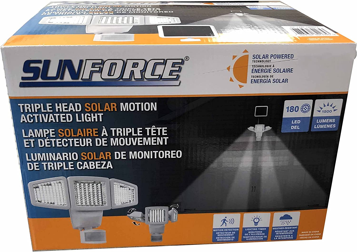 Sunforce Solar Triple Max 87% OFF Head Motion 1500 Activated Security Bombing new work Light