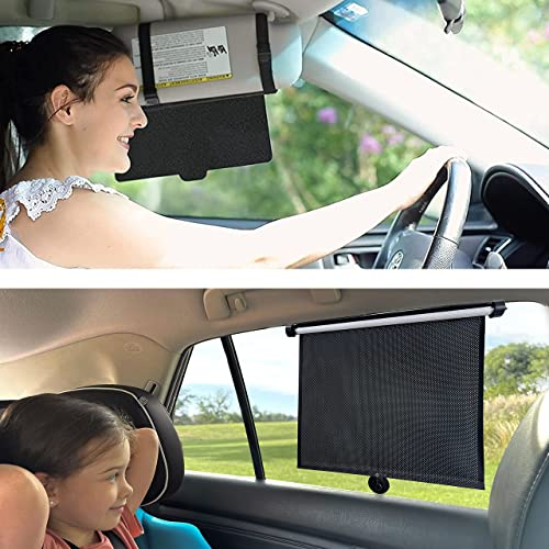 lowest EcoNour Gift Bundle discount   Car Sun Visor outlet online sale Extender + Car Side Window Sun Shade (2 Pack)   Protects from Sun Glare, Snow Blindness, Fog, UV Rays   Retractable Car Roller Sunshade for Kids, Pets online