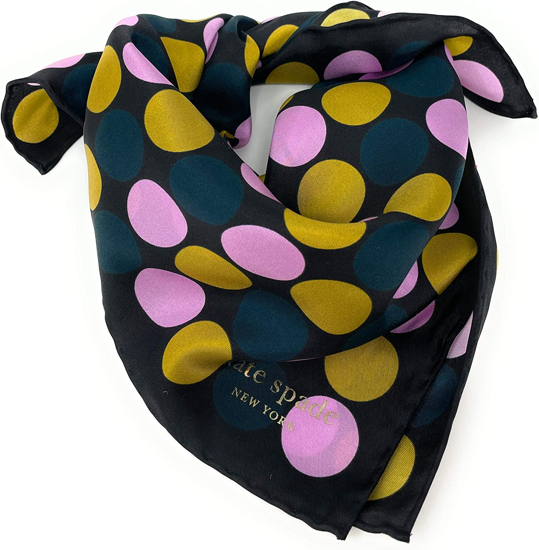Kate Spade New York 100% Silk Polka Dot Gold Black Bandana Scarf
