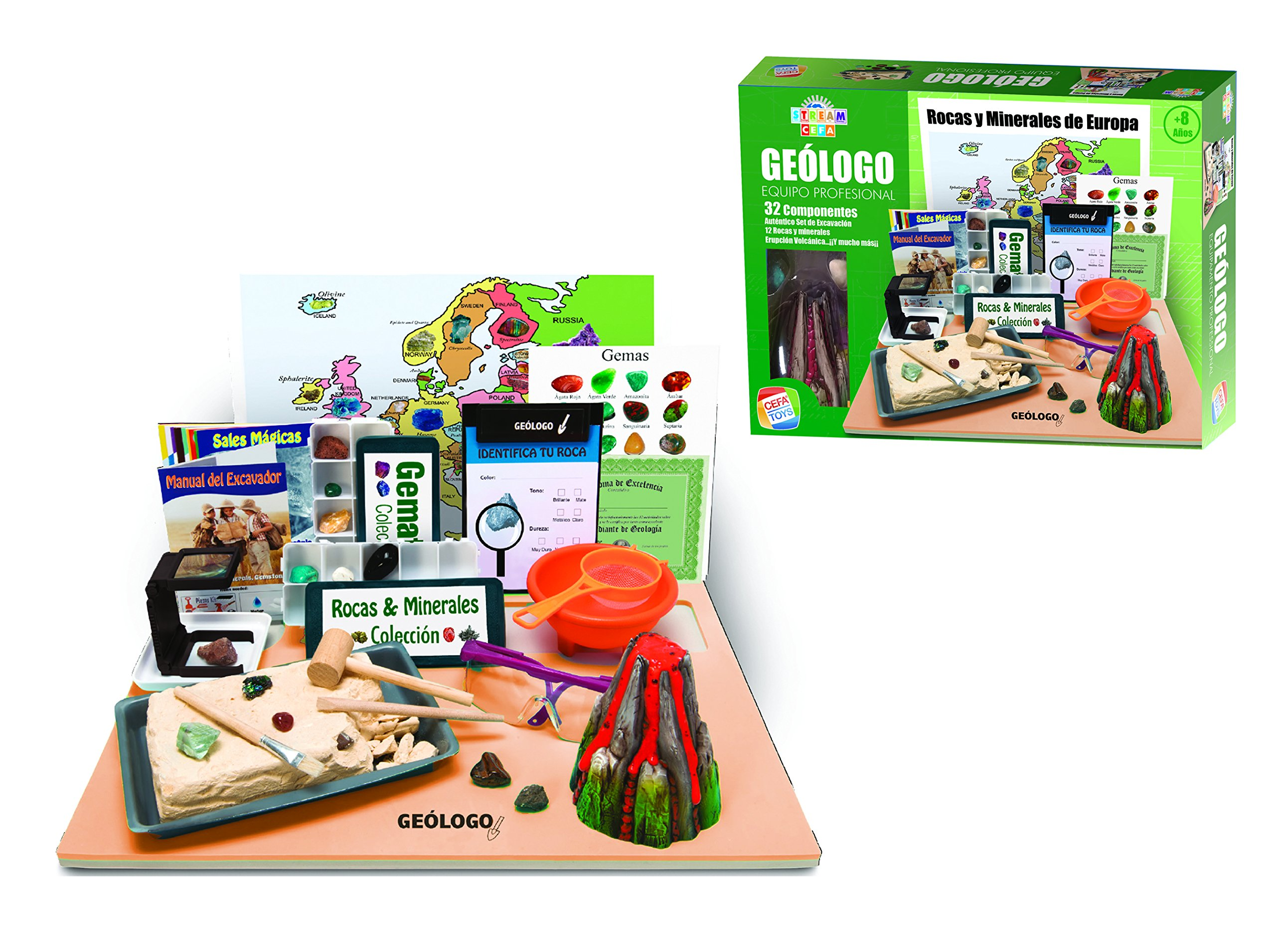 Cefa Toys- Equipo Profesional de Geólogo Stream, Multicolor, única (21833): Amazon.es: Juguetes y juegos