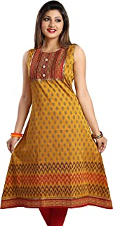 Meher Impex Cotton Silk Gold color Printed Frock