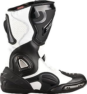 XLS Motorradstiefel hochwertige Racing Boots Touringstiefel Lederstiefel schwarz weiß (40)