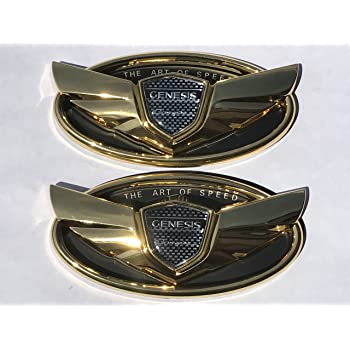 2010 2011 2012 2013 2014 2015 2pcs Genesis Coupe ART of Speed Matt Black Wing Logo Badge Emblem Trunk Grille Lid Tail Gate Kdm SET KIT